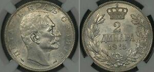 YUGOSLAVIA - SERBIA KINGDOM , 2 DINARA 1915 NGC MS 62 , RAREK