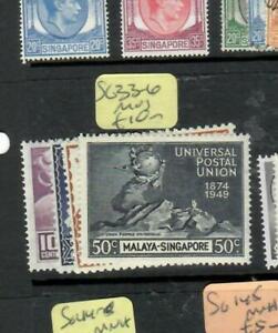 SINGAPORE (P1807B)  KGVI  UPU SET   SG 33-6      MOG