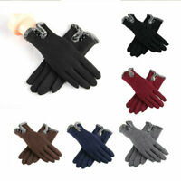 Gloves Touch Screen Fur Lined Ladies Winter Thermal Comfy Soft Thick Warm