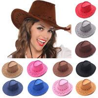 Mode Western Wildleder Cowboyhut Unisex Breite Krempe Jazz Hut Kostüm Accessoire