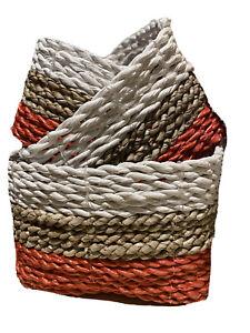 SET OF 3 natural SEAGRASS woven basket, wicker natural basket