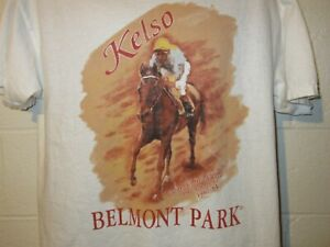Vintage 90s Kelso Horse of the Year Belmont Park Horse Racing  T-Shirt L