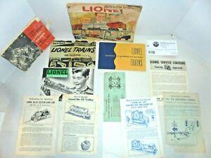 LIONEL LOT OF OLD PAPER WORK INSTRUCTION SHEETS AND MORE POSTWAR VINTAGE