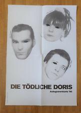 DIE TÖDLICHE DORIS UNIQUE overpainted AUTOGRAPH CARD POSTER 1986 deadly todliche