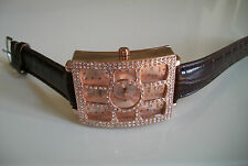 MEN'S ELEGANT BROWN/ROSE GOLD FINISH LEATHER BAND  FASHION WATCH