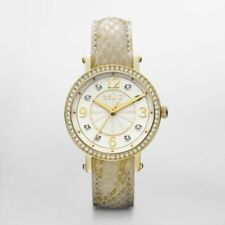 NIB RELIC by FOSSIL Caroline GoldTone Glitz Leather Strap Ladies Watch ZR34158