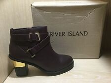 NEW River Island Boots Size 7 / 40 Mindy Dark Red Leather Ankle Boots Boxed