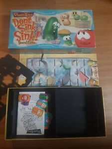Vintage Veggie Tales Don't Sink in the Sink Board Game 1999 100% Complete