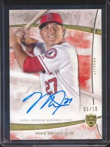 Mike Trout 2014 Topps Supreme Gold Red Auto Autograph #D 05/10 On Card Mint