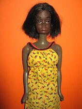 B400-barbie AA christie mattel 1975 Best Buy Yellow Calico dress fashion #2218