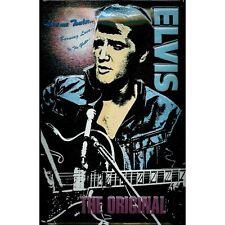 Elvis The Original Rock & Roll Music Retro Guitar Medium 3D Metal Embossed Sign
