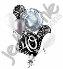 7 pc 40th Elegant Happy Birthday Sparkles Balloon Bouquet Black Damask Silver