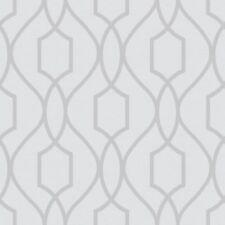 APEX GEOMETRIC TRELLIS STONE SILVER LUXURY FERATURE WALLPAPER FINE DECOR FD41995