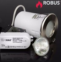 Robus Fire Rated IP65 GU10 Downlight Brushed Chrome Kit Dimmable Lamp Fitting