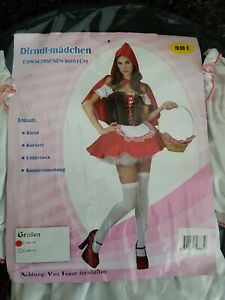 Damen Rotkäppchen Kostüm Dirndl-Mädchen Gr.38 *Neu*
