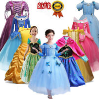 Kids Cinderella Dress Up Girls Princess Costume Fairytale Belle Aurora Rapunzel