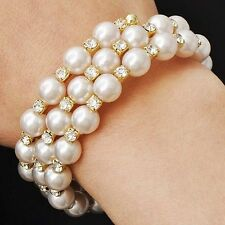 Vintage Womens Yellow Gold Plated White Pearl Crystal Wrap Stretch Bracelet