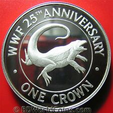 Turks Caicos 1988 One 1 Crown .84oz Silver Proof Rock Iguana Lizard Wildlife Wwf