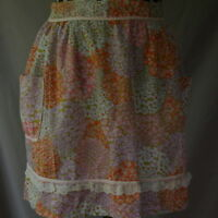 Half Apron Vintage Small Orange Pink Purple White Flowers Handmade Lace