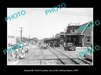 OLD LARGE HISTORIC PHOTO OF FAYETTEVILLE NORTH CAROLINA RAILROAD STATION c1950