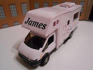 PERSONALISED NAME MOTORHOME CAMPER VAN Toy Car MODEL boy dad birthday BOX NEW
