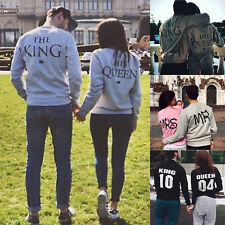 Lovers King and Queen Print Couple Hoodie Matching Sweatshirts Pullover Jumper