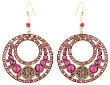 Zest Swarovski Crystal Golden Disk Earrings for Pierced Ears Hot Pink