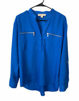 Michael Kors V Neck Blouse Long Sleeve Top Zip Pockets Blue Shirt Women's Size 8