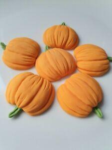 6 Edible Sugar Pumpkins Halloween Birthday Wedding Cake Cupcake Toppers