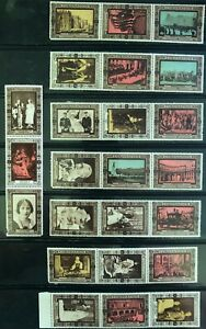 GB 1937 CORONATION STAMPS/LABELS - 8 STRIPS OF 3 -  24 - MNH