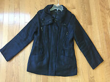 Samuel Dong Black Rayon Blend Lined Shiny Fall/Spring Women's Jacket Size P/M
