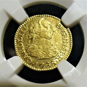 Spain: Charles III gold 1/2 Escudo 1788 S-C XF45 NGC.