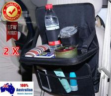 2 x Heavy Duty Travel Car Seat Back Organiser Bottle Holder Foldable Table Desk