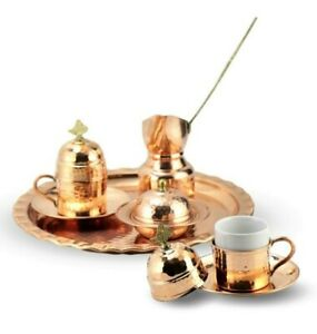 Coffee Set 2 Person Forged Copper Coffee Ottoman Turkish Saucer Cup Mug Copper