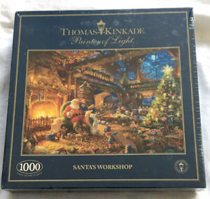 New Gibsons Thomas Kinkade 1000 Piece Jugsaw Puzzle Santa's Workshop Christmas