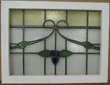"OLD ENGLISH LEADED STAINED GLASS WINDOW Pretty Sweep Design 21.75"" x 18.5"""