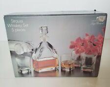 Luigi Bormioli Strauss 5 Piece Whisky Set, Decanter & 4 Glasses, New In Box!