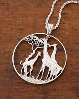 Silver Giraffe Pendant, Silver Giraffe Jewelry, Giraffe Necklace, ( #894S )