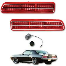 69 Chevy Camaro Red LED Right Left Tail Brake Light Lens & Trim w/ Flasher Pair