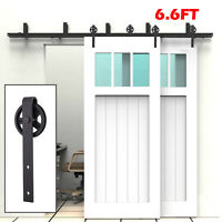6/6.6/8FT Steel Double Sliding Barn Wood Door Rollers Hardware Track Kit Closet