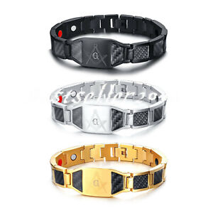 "Mens Freemason Mason Germanium Masonic Bracelet Steel Carbon Fiber Bangle 8.5"""