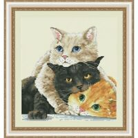 Counted Cross Stitch Kit Cats DIY Hand Embroidery