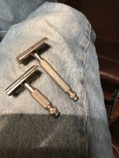 Pair Of Vintage Gillette TECH Double Edge Safety Razors 1940's