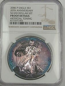 TONED 2006-p Proof Silver American Eagle. NGC Proof Details (Artificial Toning?)