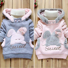 Girl's Rabbit Coats Jacket Kids Thick Jumper Top Sweatshirt Warm Winter Clothes