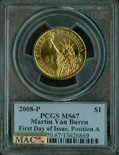 2008-P MARTIN VAN BUREN PRES DOLLAR PCGS MS67 PQ FDI POS-A FINEST MAC SPOTLESS .