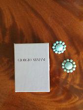 Authentic Giorgio Armani Turquoise Button Clip-On Earrings