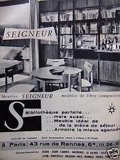 PUBLICITÉ 1959 MEUBLES SEIGNEUR BIBLIOTHÉQUE PARFAITE - ADVERTISING