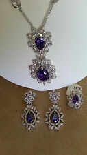 SPECIAL OCCASION & BRIDAL PURPLE PEAR SHAPE CUBIC ZIRCONIA NECKLACE EARRING SET