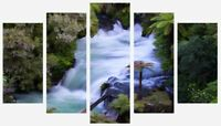 Forest Waterfall Stream Trees Woods Wall Home Decor 5 Split Panel Canvas Picture